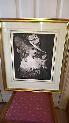 Vintage Print of an Engraving of Georgiana Duchess of Devonshire. Framed.
