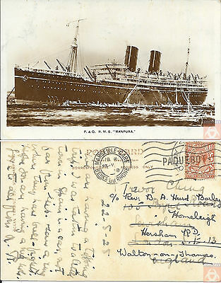 Angleterre - Carte Postale PAQUEBOT - RANPURA - Posted at Sea 1928 - Marseille