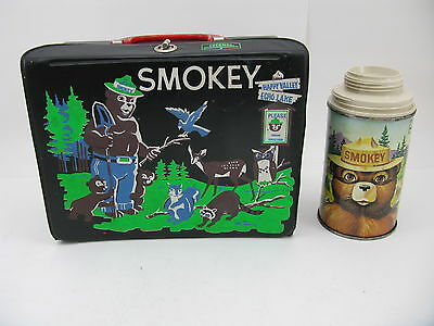 Vintage SMOKEY THE BEAR Vinyl Lunchbox w/ Metal Thermos Rare Smoky Lunch Box