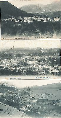 3 Postcards Views in Japan. Posted Japan to England 1909