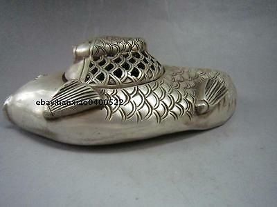 Chinese buddhist manual old Miao silver carving Fish statues incense burner