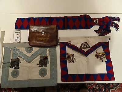 Masonic Aprons, Pouch, Sash and Certificates