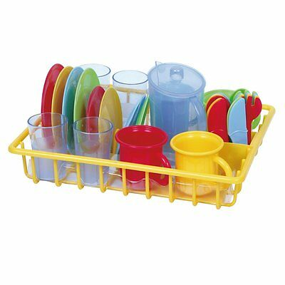 Pretend Play Dishes With Dish Drainer Kids Kitchen Accessories Toys Nice New