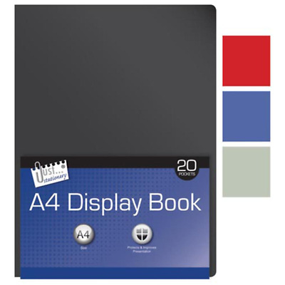 A4 Display Project Folder Book With 20 Clear Pockets - Random Colour-6141