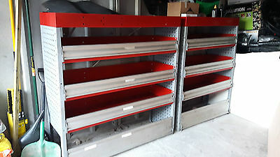 2 x Van racking / storage shelving metal with drop down front strong and secure