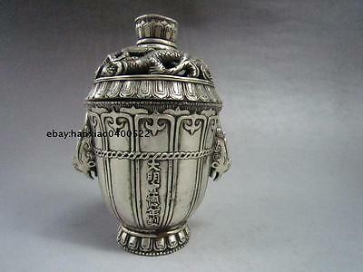Chinese buddhist manual old Miao silver dragon statues incense burner