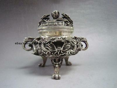 Chinese buddhist manual old Miao silver carving dragon statues incense burner