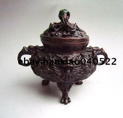 Collectible Chinese decorative manual copper Kowloon Dragon incense burner
