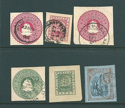 BRITISH GUIANA - Collection of postal stationery cut-outs