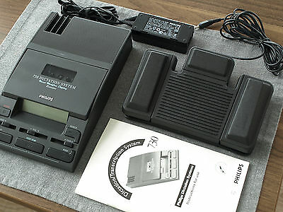 Philips LFH720 Mini Cassette Transcriber w/ Foot Pedal TESTED Transcription