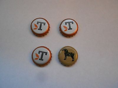 """3 Caps with Letter """"T"""" & 1Cap with a Horse  Beer Caps"""