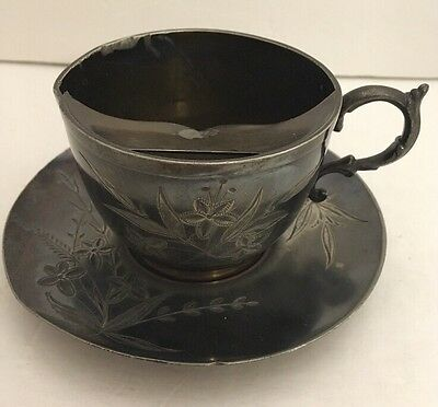 Barbour Bros Co Quadruple Silver Mustache Teacup And Saucer Engraved
