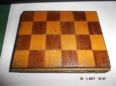 Vintage  Cigarette Case With Wood Checkerboard Sides
