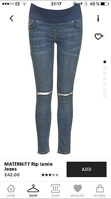 Topshop Maternity Rip Jamie Jeans Size 8