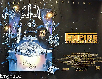 Star Wars The Empire Strikes Back Quad Poster Signed By Dave Prowse Darth Vader