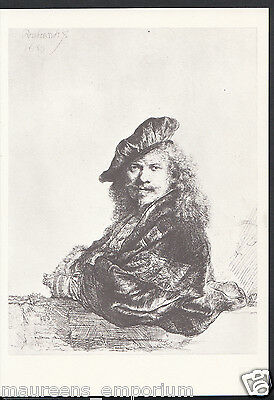 Artist Postcard - Rembrandt, Self-Portrait, Leaning On a Sill, Etching RR1381