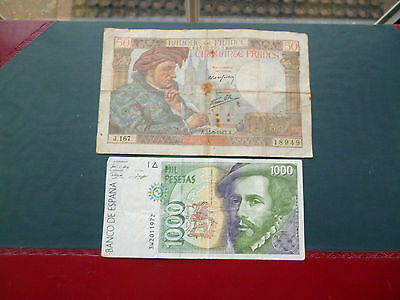 1000 Peseta And 50 Franc Bank Notes