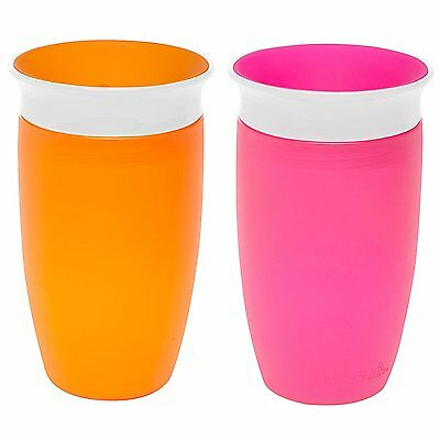 Munchkin Miracle 360 BPA Free 2 pack Toddler Sippy Cup Pink and Orange 10 Ounce
