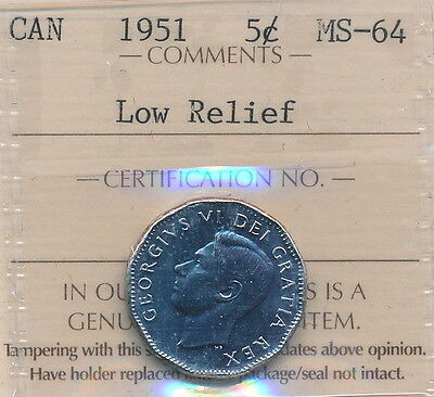 1951 5 cents (steel) in MS-64 certified,