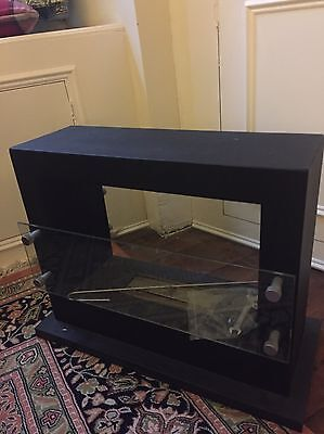 Attractive Ethanol Bioethanol Fireplace, Black With Glass Front And Back Shields