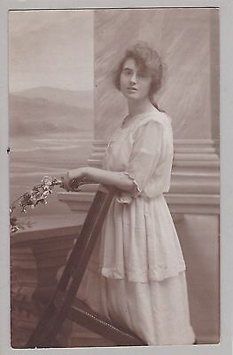 Antique RPPC: Studio Portrait Of Young Lady, Sheer/Ethereal Dress, Spectacles