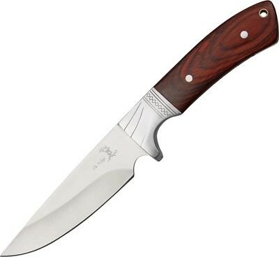 "NEW 9"" Full Tang Elk Ridge Wood Handle Hunting Skinning Knife with Sheath"