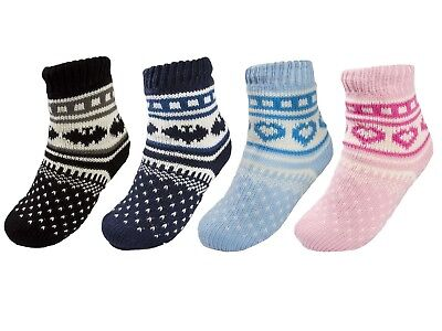 Boys Girls Warm Fleece Lined Fairisle Slipper Socks Booties Lounge Bed Socks