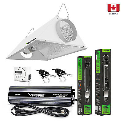VIVOSUN 400w 600w 1000 Watt Dimmable Ballast HPS MH Air Cool Hood Grow Light Kit