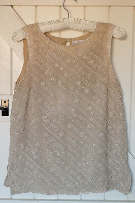 *VINTAGE* Nude beaded top, embellished size small 8-10, 1980s, 1990s
