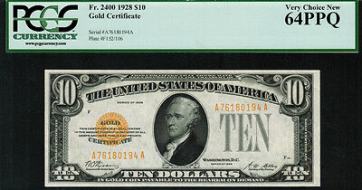 1928 $10 Gold Certificate FR-2400 - Graded PCGS 64PPQ - Very Choice New