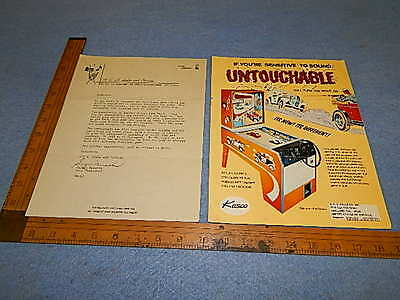 1974 Kasco UNTOUCHABLE Arcade Game Advertising Mailer & Cover Letter
