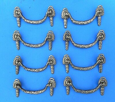 Set of 8 Antique Fancy Victorian Cast Brass Furniture Pulls Drawer Dresser Nice