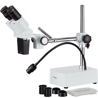AmScope 10X-20X LED Binocular Stereo Microscope Boom Arm with Gooseneck Light