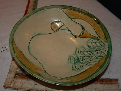 vintage ceramic bowl duck fowl mid century modern folk art bird serving salad