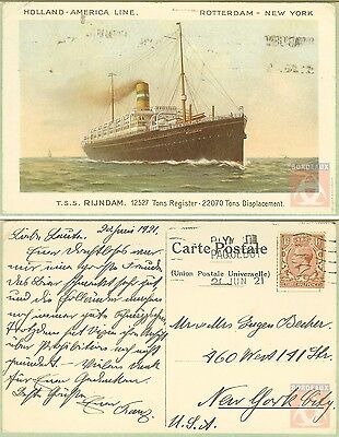 Angleterre - Carte Postale PAQUEBOT - RIJNDAM - Posted at Sea 1921 - Plymouth