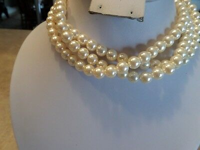 Vintage Gold Tone and Faux Pearl Multi Strand Necklace I2