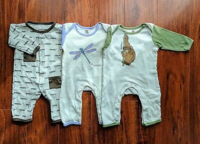 Set of 3 Baby Organic Cotton Coverall Romper Jumpsuit One Piece 6-9 Month