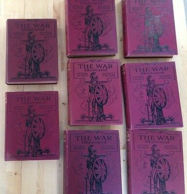 The War Illustrated, (1914 - 1918) Volumes 1 to 8/9, hardback tooled covers