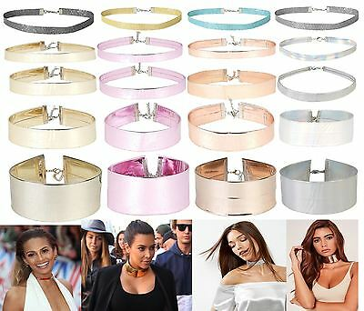 Ladies New Holographic Choker Necklace DollzKill Style Glitter Fashion Jewellery