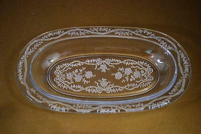 Fostoria Oval Relish Tray /Pickle Dish in Romance Etched Crystal  8in.