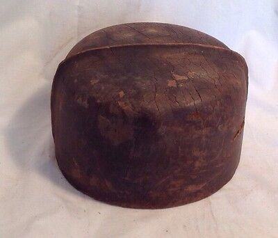 Antique Wooden Hat Mold Block Form Millinery Haberdashery Shaped Industrial