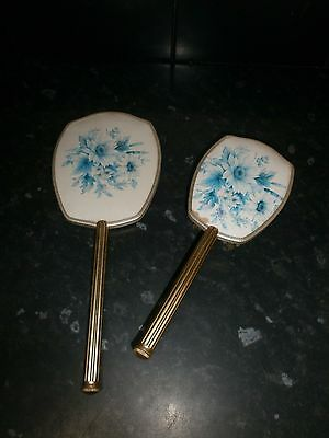 Vintage Floral Dressing Table Hand Mirror And Brush