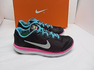 NEW NIKE FLEX 2016 RN $60 Black Pink Athletic Shoes Girl's Youth Sz 1 FAST SHIP!