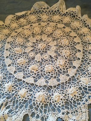 Lovely white hand crochet table centre worked in thin cotton with raised flowers