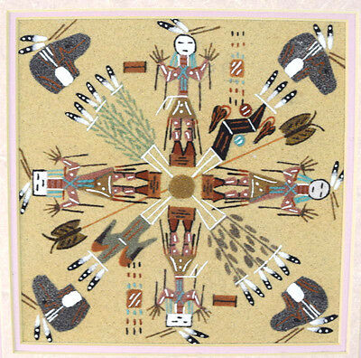 Navajo Sand Painting Yei Figure Signed Framed Native American Indian Wall Art