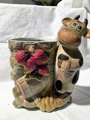 PORTA PENNE PORCELLANA MUCCA COUNTRY 50s PEN HOLDER COW VINTAGE IDEA REGALO