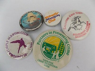 Vtg Pinback Button Badge Lot G8 Manitoba Museum of Man and Nature Winnipeg +