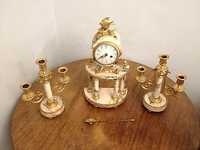 ANTIQUE LATE 19th CENTURY FRENCH MARBLE PORTICO MANTLE CLOCK AS FOUND