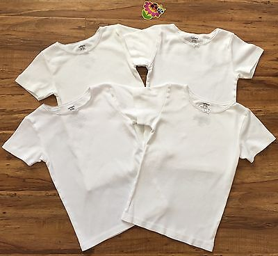 CARTER'S Girls 6 White Cotton Short Sleeve Undershirts Tees Tops / Lot of 4 *GG