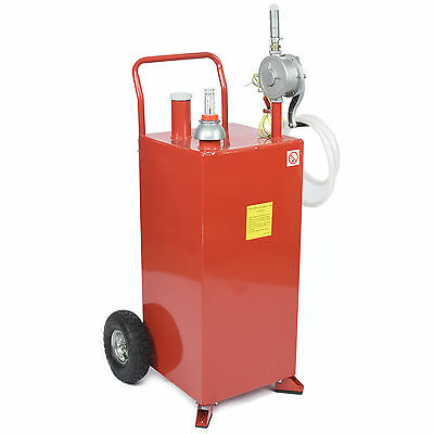 30 Gallon Gas Container Caddy Rotary Pump Fuel Transfer Tank - Siphon Gas Diesel